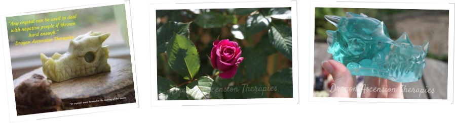 Dragon Ascension Therapies - Dragon Energy Healing and Reiki - image of crystal dragons and a pink rose