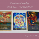 Photograph of the cards pulled for the reading 28th January to 3rd February 2019.