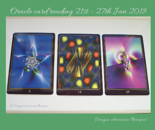 Photograph of oracle card reading for 21st to 27th January 2019
