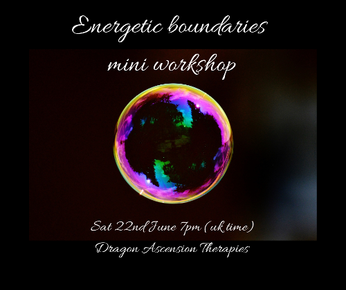 Graphic for energetic boundaries mini workshop on 22nd June 2019