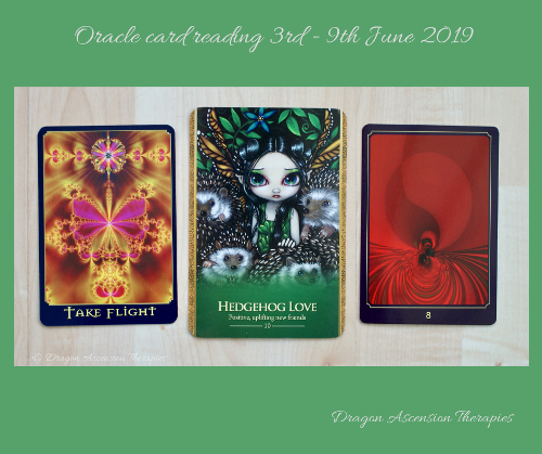 Photo showing 3 card spread for 3rd =9th June 2019