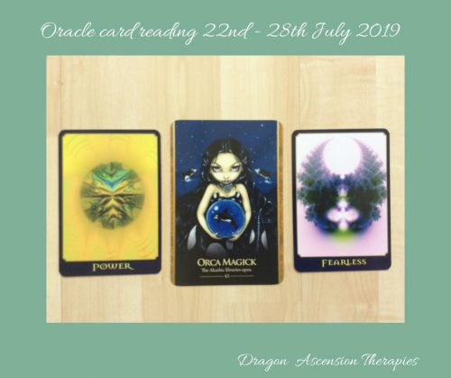 Photos of the 3 card spread for the oracle reading 22nd to 28th July 2019