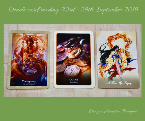 Photo of 3 card spread for oracle reading 23rd to 29th September 2019