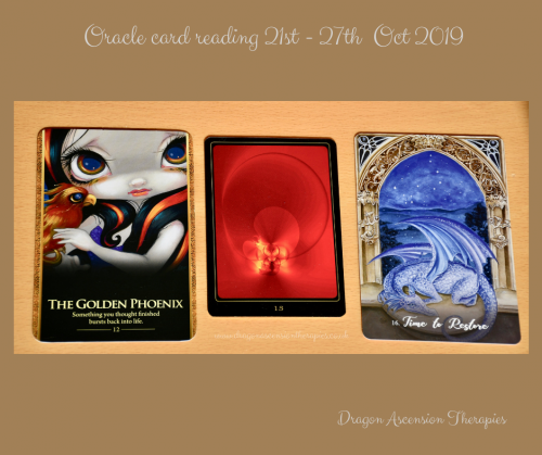 photo of 3 cards used for the reading 21st to 27t October 2019