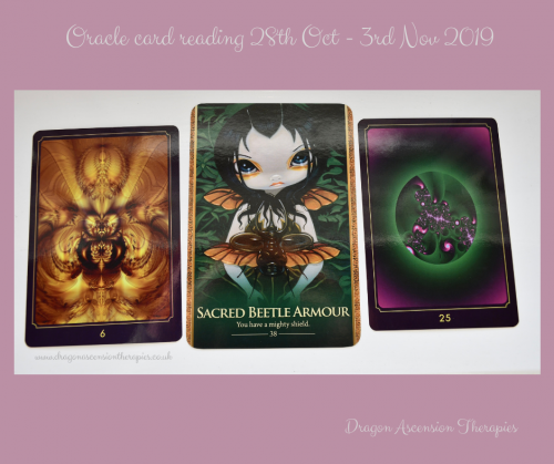 photo of 3 cards used in the reading for 28th October to 3rd November 2019