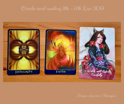 photo of 3 card spread for the oracle card reading 11th to 17th November 2019
