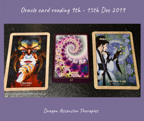 photo of the 3 oracle cards drawn for the weekly reading for 9th to 15th December 2019