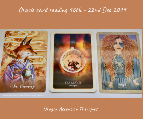 the 3 card spread for my oracle card reading 16th to 22nd December 2019