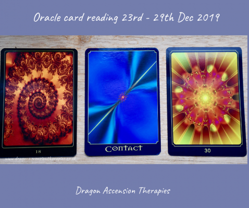 Photo of the 3 card spread for the oracle card reading 23rd to 29th December 2019