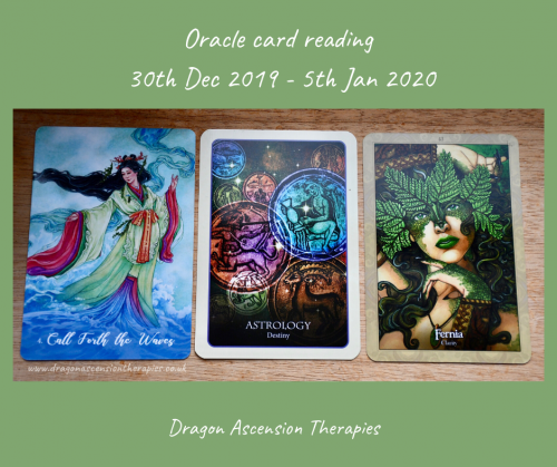 photo of 3 cards drawn for the oracle card reading for 30th December 2019 to 5th January 2020