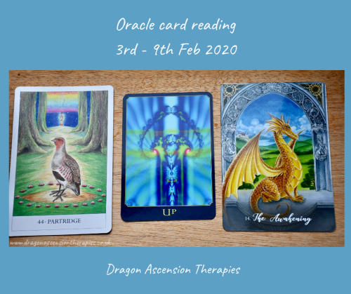 photo of the 3 cards drawn for the oracle reading 3rd to 9th February 2020