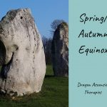 photo of one of the standing stones at Avebury stone circle to mark the Spring Equinox 2020