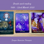 photo of 3 cards pulled for the weekly reading 16th to 22nd March 2020
