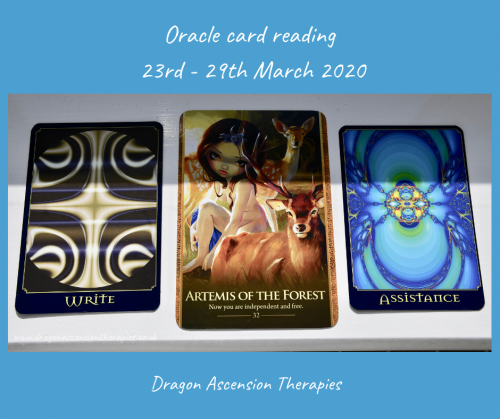 photo of the 3 oracle cards pulled for the weekly reading 23rd to 29th March 2020