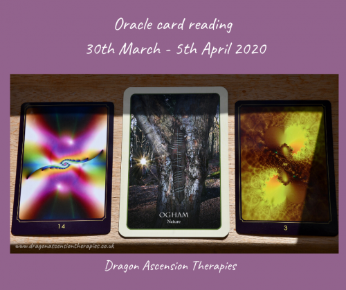 photo of 3 card spread for the weekly reading 30th March to 5th April 2020