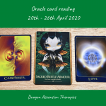 photo of 3 cards drawn for the card reading 20th to 26th April 2020
