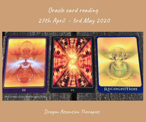 photo of 3 cards drawn for the oracle card reading 27th April to 3rd May 2020