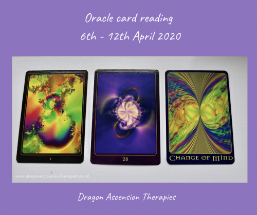 photo of 3 cards for the weekly reading 6th to 12th April 2020