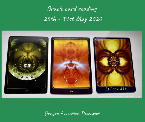 photo of 3 cards pulled for the oracle reading 25th to 31st May 2020