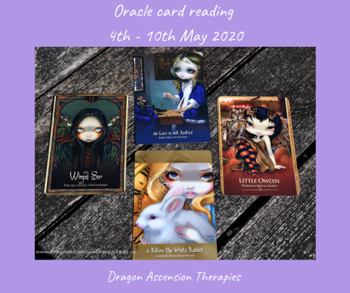 photo of the oracle cards pulled for the reading 4th to 10th May 2020
