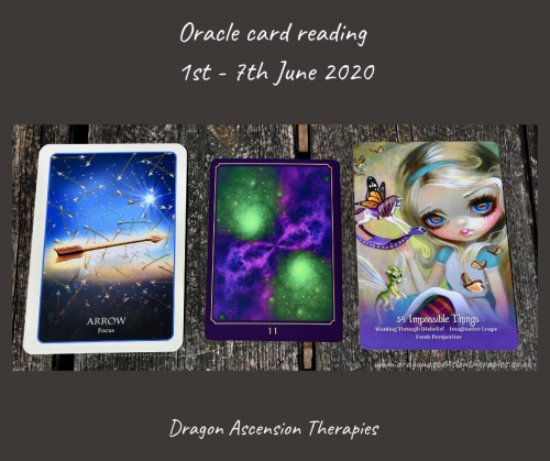 photos f 3 cards drawn for the weekly reading 1st to 7th June 2020
