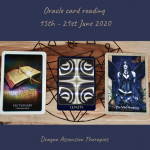 photo of 3 cards drawn for the weekly reading 15th to 21st June 2020