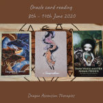 Photo of three oracle cards pulled for the 8th to 14th June 2020 reading