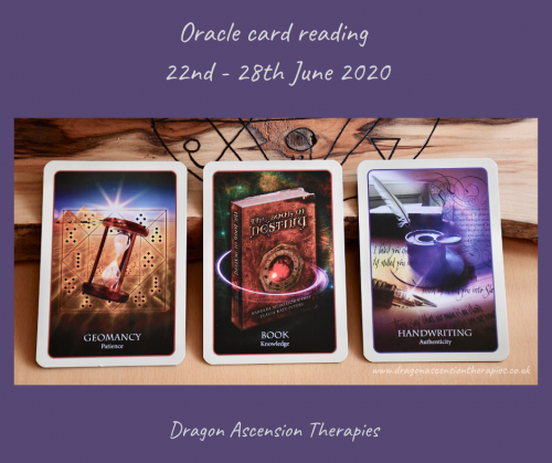 photo of the 3 cards drawn for the weekly reading 22nd to 28th June 2020