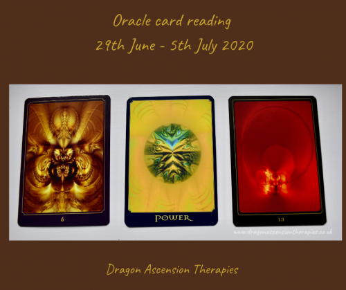 photo of the 3 oracle cards drawn for the weekly reading 28th June to 5th July 2020