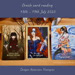 Photo of the 3 cards pulled for the weekly reading 13th to 19th July 2020