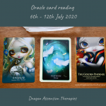 Photo f the three cards drawn for the wekly reading 6th to 12th July 2020