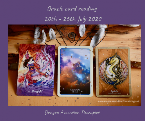 Photo of three cards pulled for my reading 20th to 26th July 2020