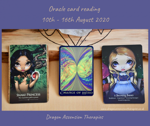 photo of the three cards pulledd for the weekly reading 10th to 16th August 2020