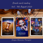 Photo of the 3 cards drawn for the weekly reading 3rd to 9th August 2020