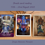 photo of the three cards drawn for the weekly reading 17th to 23rd August 2020