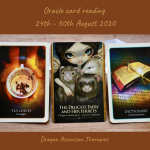 photo of 3 cards drawn for the weekly reading 24th to 30th August 2020