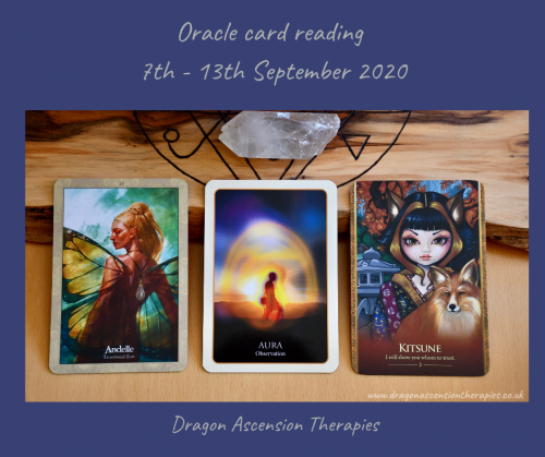 photo of the cards drawn for the weekly reading 7th to 13th September 2020