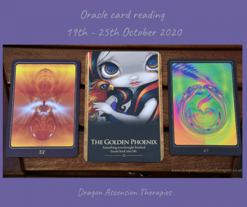 photo of the three cards pulled for the weekly reading 19th to 25th October 2020