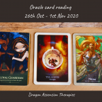 photo of the three cards drawn for the weekly reading 26th October to 1st November 2020