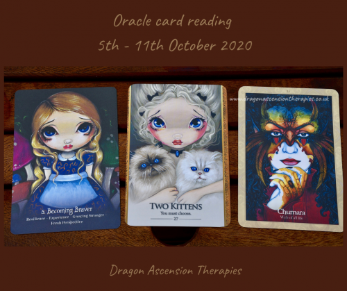 photo of 3 cards pulled for the weekly reading 5th to 11th October 2020