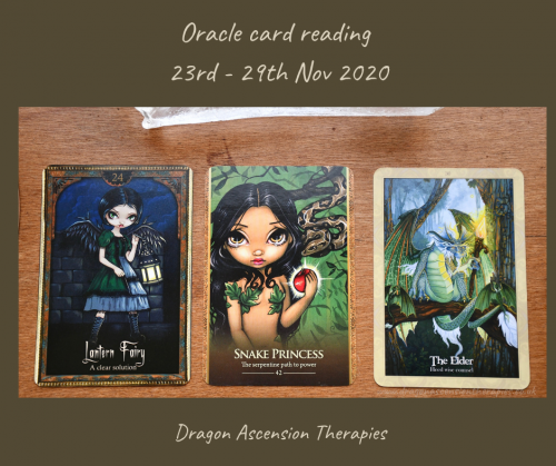 photo of the three cards drawn for the weekly reading 23rd to 29th November 2020