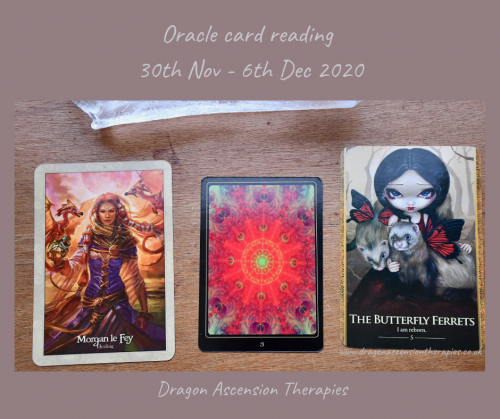 photo the the there cards pulled for the weekly reading 30th November to 6th December 2020