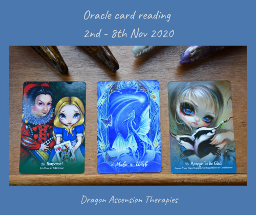 photo of the 3 cards pulled for the weekly reading 2nd to 8th November 2020