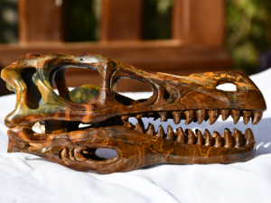 photo of Pietersite 5 inch T-Rex crystal skull
