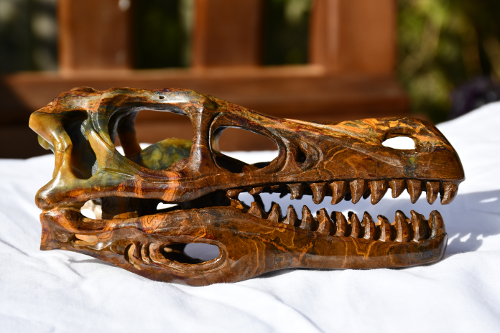 photo of Pietersite 5 inch T-Rex crystal skull