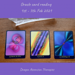 photo of the three cards drawn for 1st to 7th February 2021