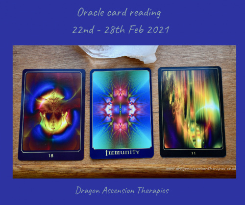 photo of three cards drawn for the reading 22nd to 28th February 2021