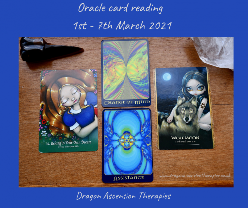 photo of the three cards drawn for 1st to 7th March 2021