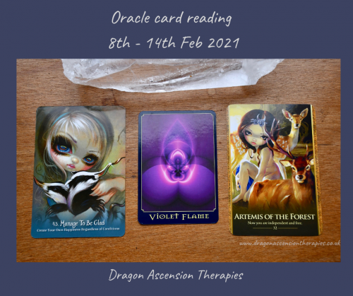 photo of thh three cards pulled for 8th to 14th February 2021