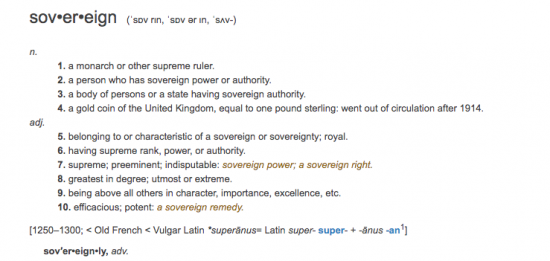 Dictionary definition of the word sovereign